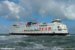 De eerste mijlen op de Noordzee bij Rotterdam voor de Schulpengat in de nieuwe huisstijl. Pas in 2018 komt de Schulpengat terug op deze plek, tijdens de laatste reis naar de sloper in Gent.