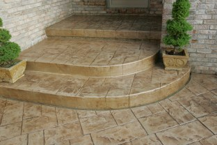 Ashlar Cut Stone stamped steps and porch