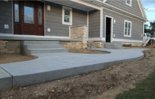 Plain concrete walkway and steps