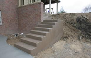 Colored concrete steps
