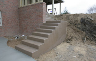 Colored concrete steps