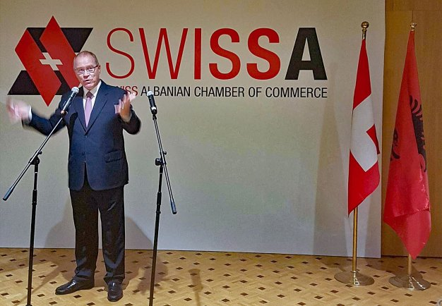 Raymund Furrer at the launch of the Swiss Albanian Chamber of Commerce
