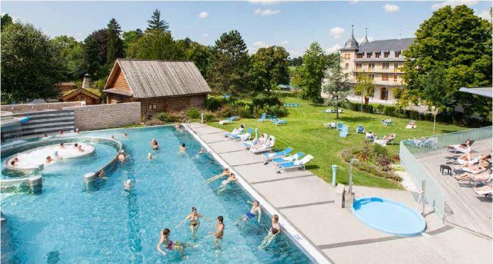 Das Parkresort Rheinfelden mit der Wellness-Welt sole uno und dem Parkhotel am Rhein. Bild: www.parkresort.ch