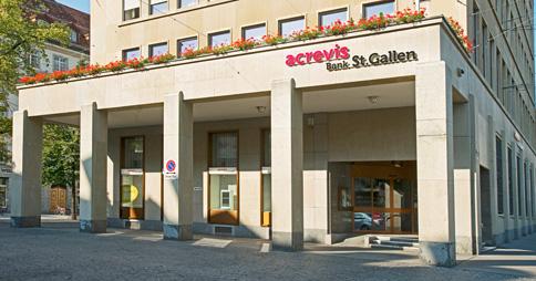 Der Hauptsitz der acrevis Bank in St. Gallen. Bild: www.acrevis.ch