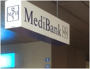 Das Firmenschild am ehemaligen Sitz der Medibank in Zug. Bild: schweizeraktien.net