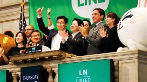 Das Management von Line am Tag des IPOs des Unternehmens an der NYSE. Quelle cnbc.com