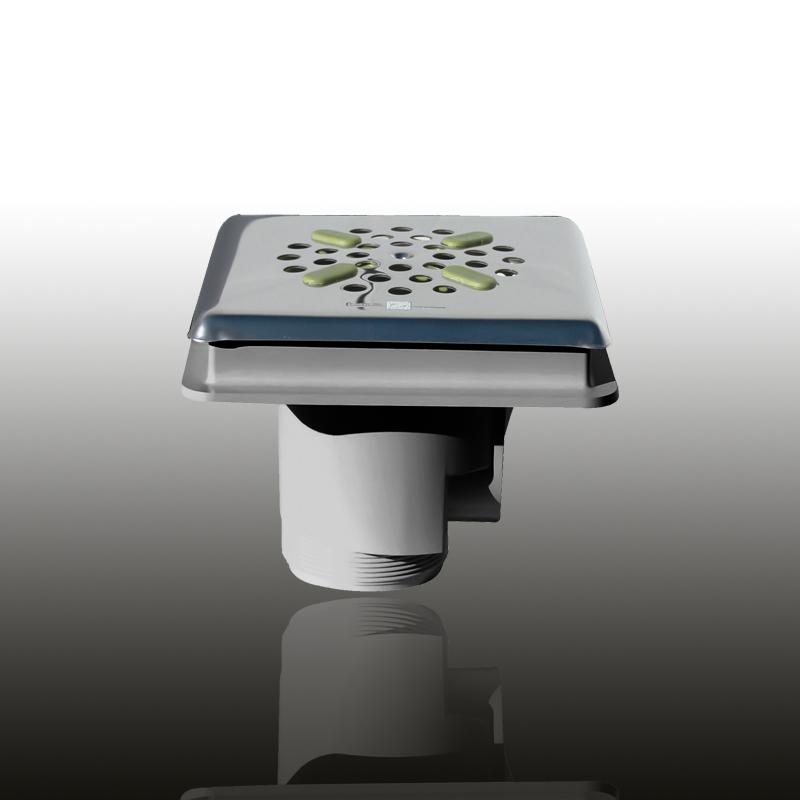 Bodenablauf: ABS Kunststoff Edelgrau eckig / Blende: V4A / Art.Nr.: 43245 Image
