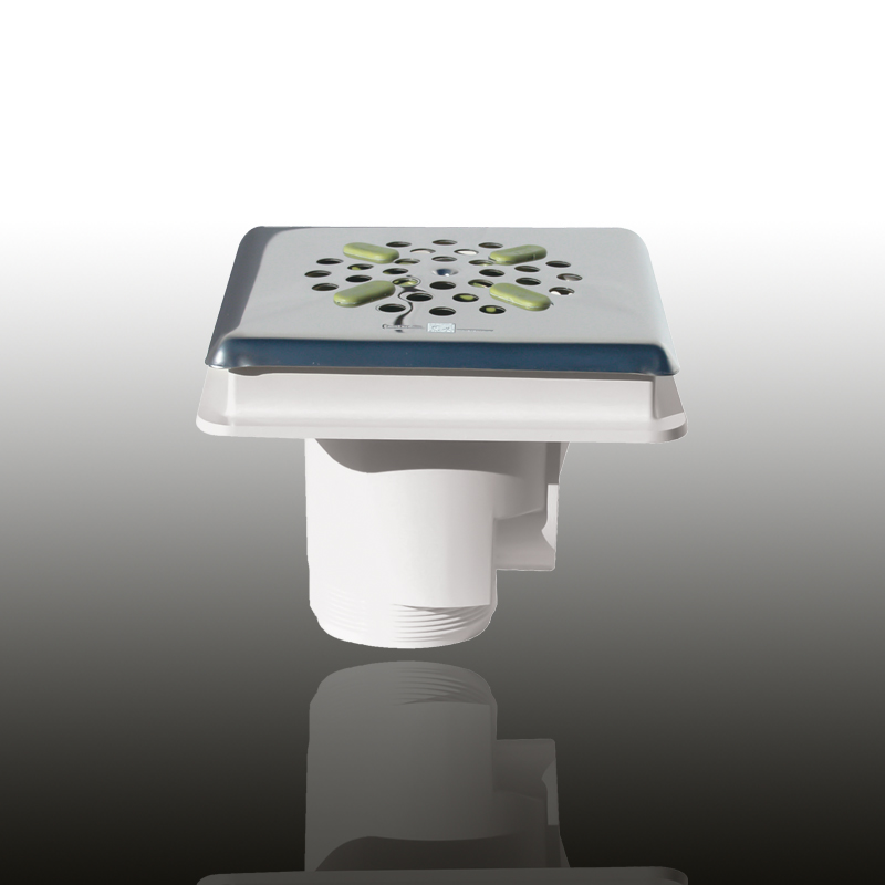 Bodenablauf: ABS Kunststoff Signalweiß eckig / Blende: V4A / Art.Nr.: 48241 Image