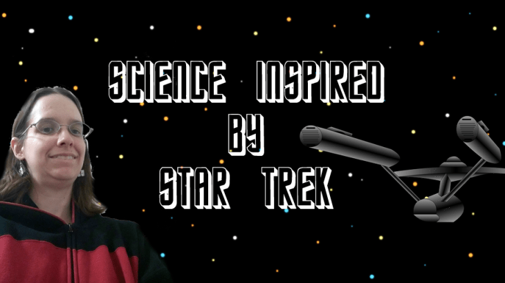 Science Inspired by Star Trek. TNG command uniform selfie and a picture of the original Enterprise.