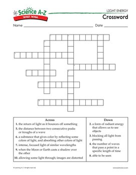 Light And Color Worksheet Answers Crossword Puzzle ...