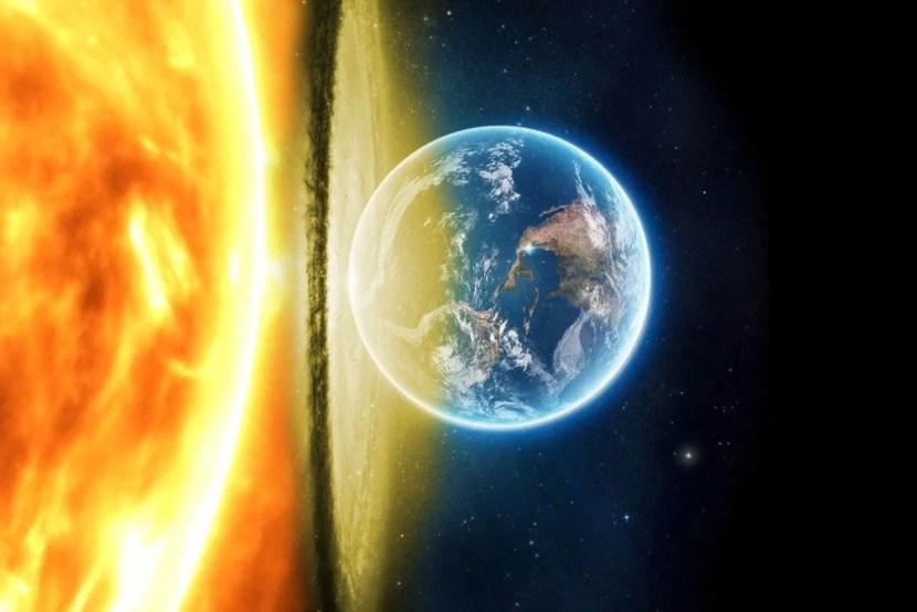 Terra indo para dentro do sol