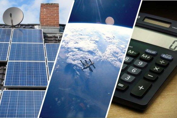 painel solar satelite calculater e terraço
