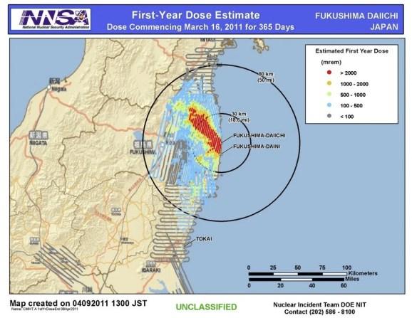 NNSA DOE Dose Mapa Fukushima