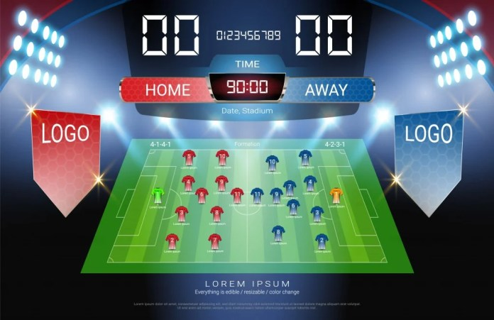 Football or soccer starting lineup, Jersey uniforms and Digital timing scoreboard match vs strategy broadcast graphic template for presentation score or game results (Vector file fully editable) - Vector( PRAIRAT FHUNTA)s
