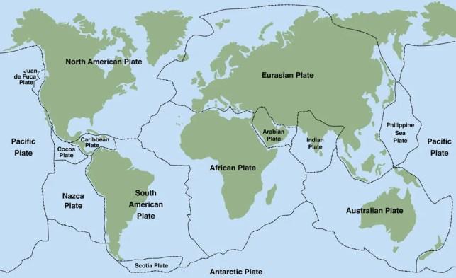 Placas tectônicas - mapa-múndi com placas maiores e menores (Peter Hermes Furian) s