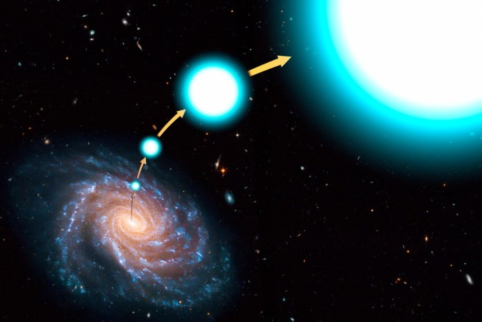 A hypervelocity star escaping the universe. (NASA)