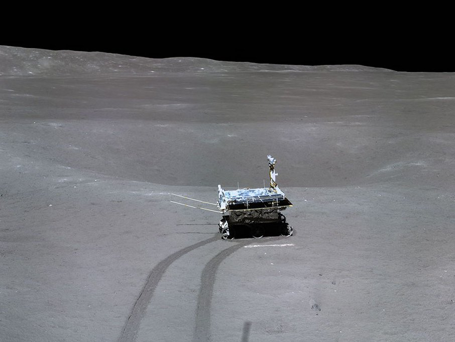 Yutu 2 rover investigating a small crater. (CNSA/CLEP)