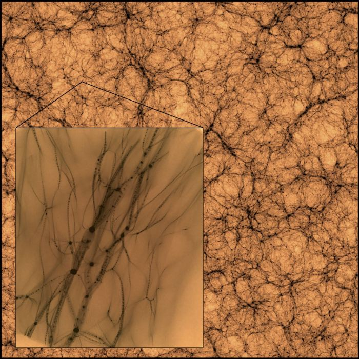 Simulated dark mater haloes at all scales. (J. Wang/S. Bose/Center for Astrophysics)