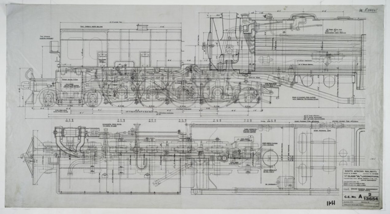 engineering drawing for the south african gl class beyer garratt in the power hall [ 1271 x 700 Pixel ]