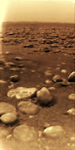 The surface of Titan by the Huygens space craft