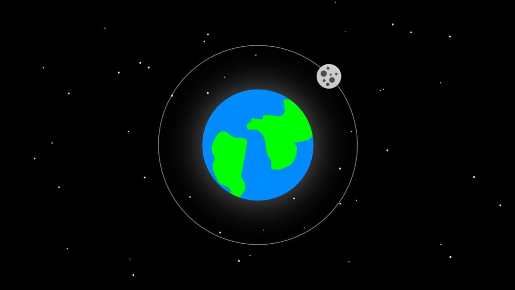 cartoon earth and moon