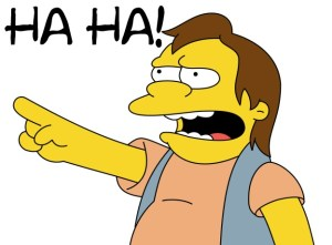 Nelson from the simpsons saying haha