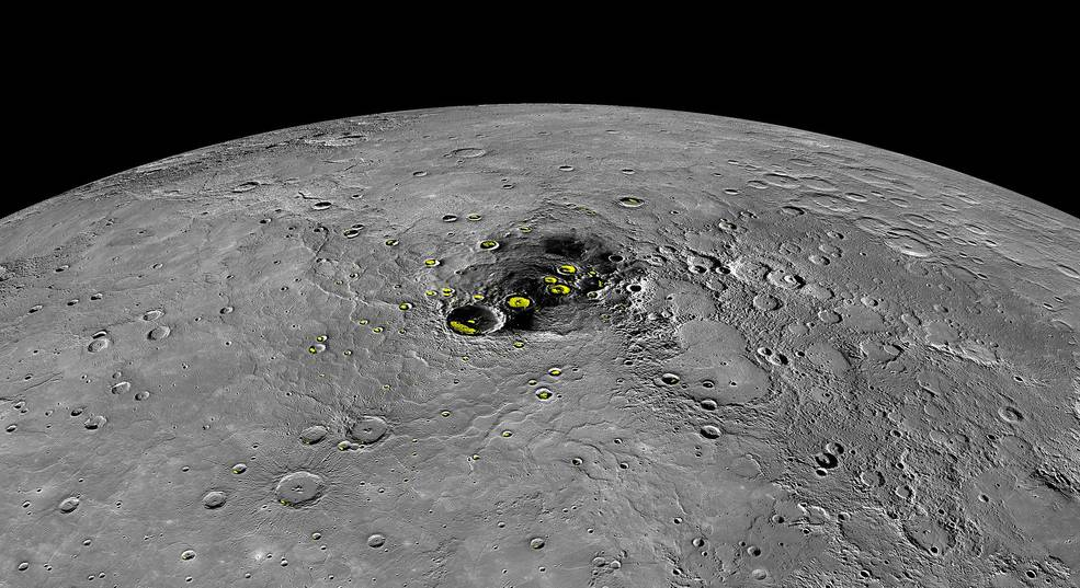 ice found on mercury