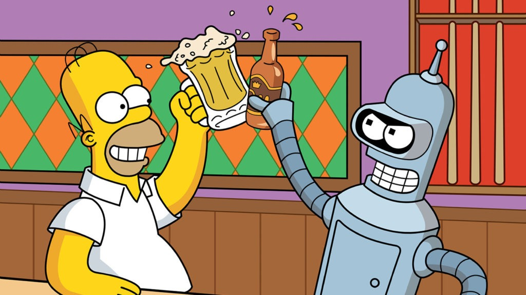 homer simpson drinking beer with bender