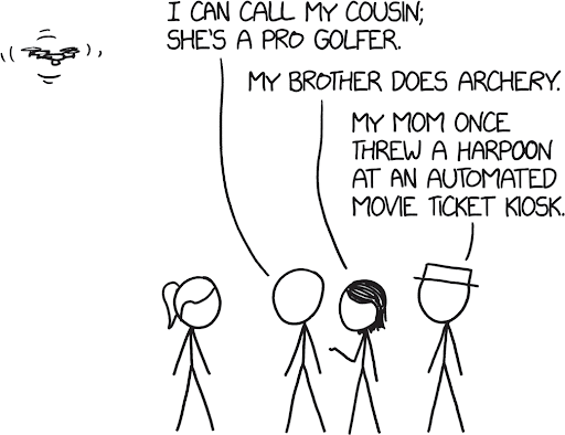 a comic with a drone flying in the left corner, and four stick figure people at the bottom conversing. the speech bubbles say:
