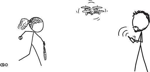 a stick figure resembling serena williams on the left has a racket and tennis balls in hand. on the right is a stick figure of alexis flying a drone in the air with a remote control
