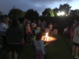 Gathered around the campfire at Halecrest Swim and Tennis Club
