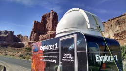The Mobile Observatory rests briefly in Arches National Park on its journey to Idaho Falls.