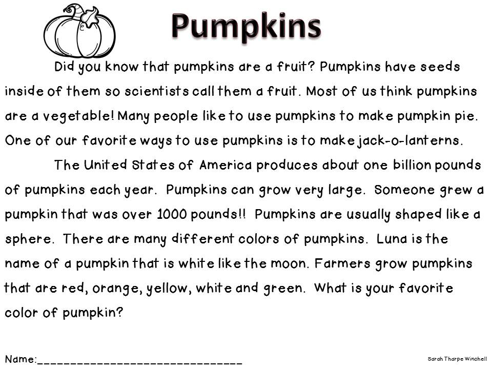 Free Non-Fiction Close Read Pumpkins