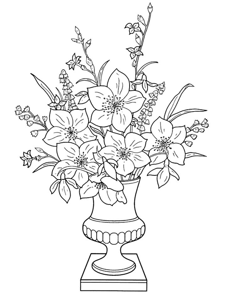 5 Flowers In Vase Coloring Sheet Coloring Pages