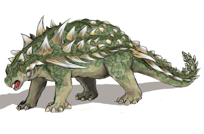 This drawing shows the possible appearance of Gastonia, a dinosaur from the early Cretaceous Period (around 125 million years ago). Gastonia featured a sacral shield and large spikes on its shoulders. It was named by James Kirkland in 1998 after remains were found in Utah, USA.
