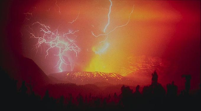 This incredible photo shows the rare occurence of lightning that forms from the generation of electrical charges inside the ash plumes of an erupting volcano.