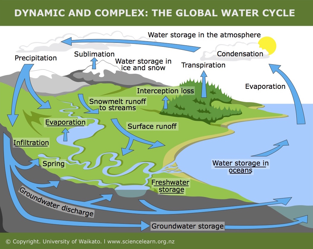 Aspects of the water cycle to use this interactive move your mouse or finger over any labelled boxes and click obtain more information also dynamic complex global  science learning hub rh sciencelearn