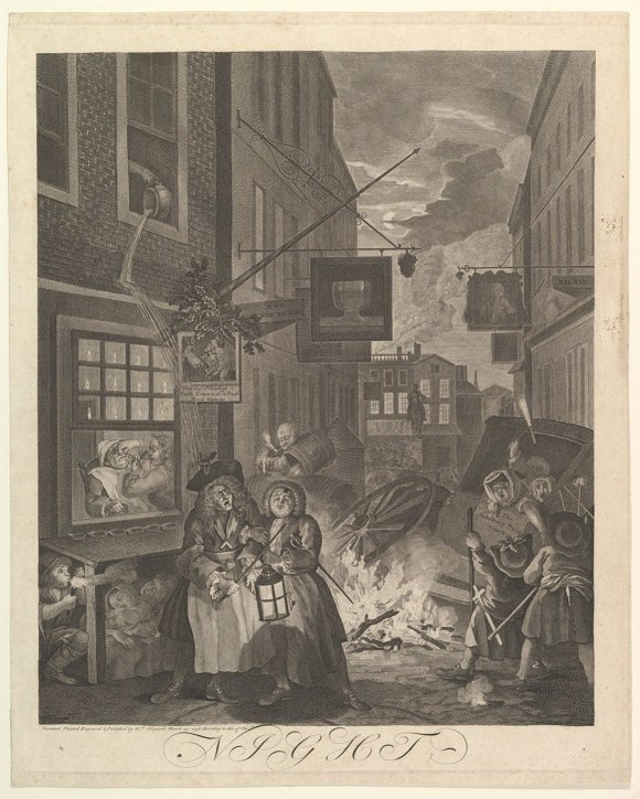 Print of an oil painting showing a street at night