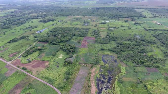 aerial view of former Maya site