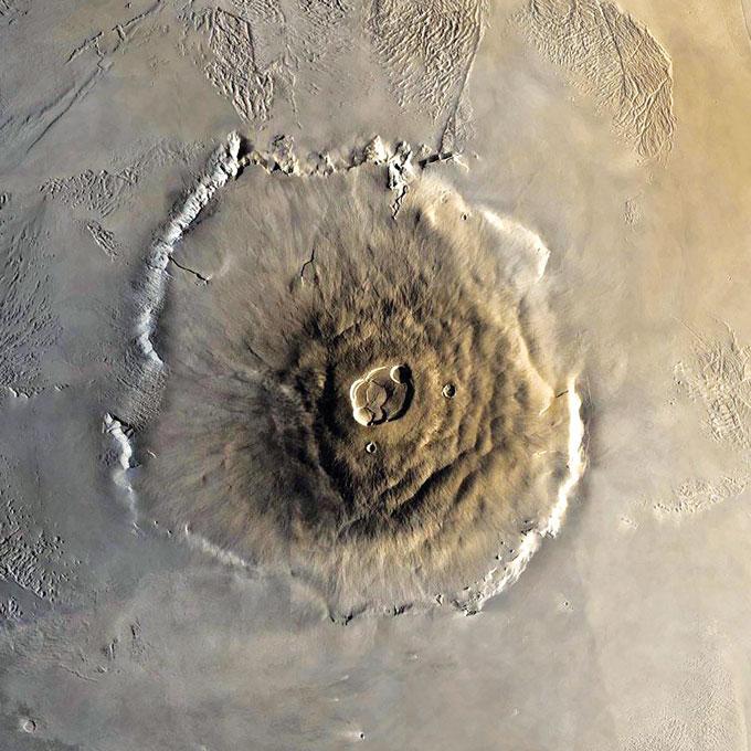 aerial photo of volcano on Mars