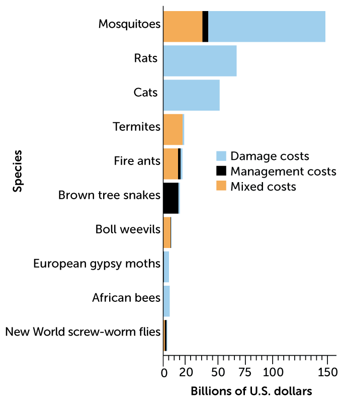 bar chart of 10 most costly invasive species, 1970–2017