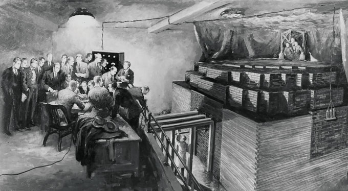 illustration of scientists observing the first nuclear chain reaction experiment