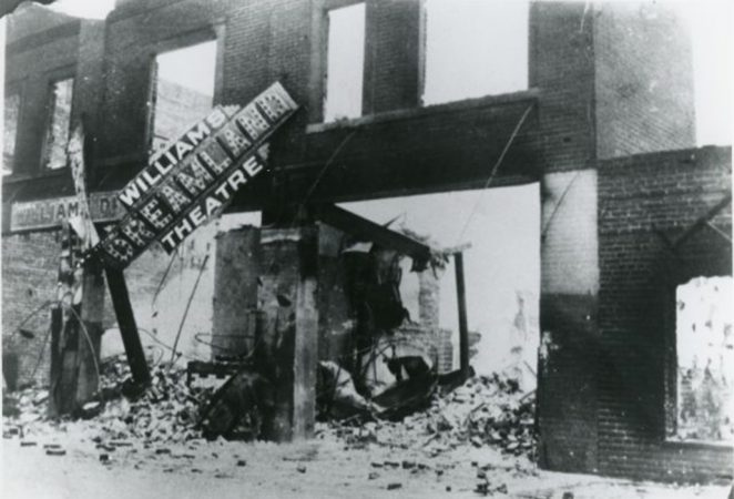 black and white image of the Dreamland theater in ruins after the massacre