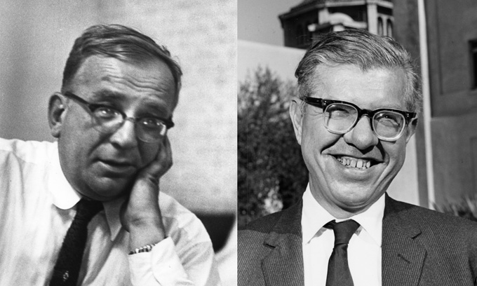 black and white images of George Gamow and Fred Hoyle