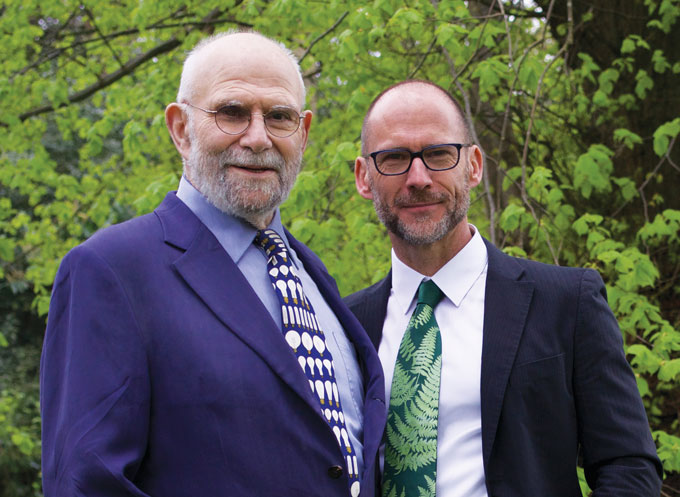 Oliver Sacks stands next to Bill Hayes