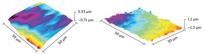 Plazma işleminden önce ve sonra işlenmemiş bir çalı fasulyesi tohumunun yüzeyinin mikroskop görüntüsü
