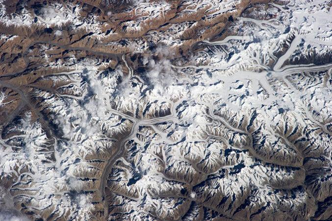 an aerial view of the Karakoram mountains