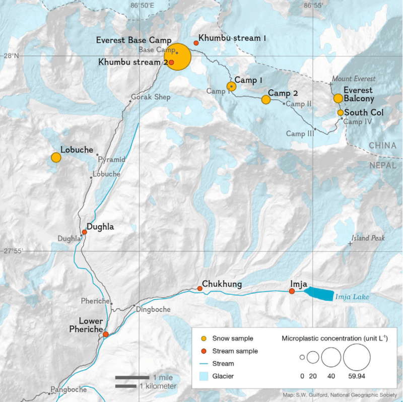 a map showing sampling sites and the concentrations of plastics from those sites on Mount Everest