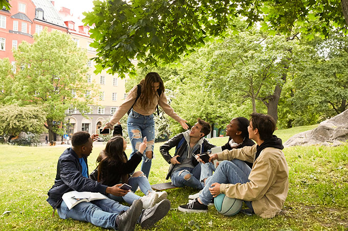 a group of kids sitting under a tree in an urban park