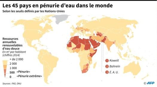 Les 45 pays en pénurie d'eau dans le monde (AFP - Thomas SAINT-CRICQ)